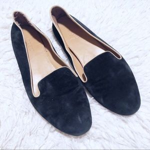 J. Crew black suede and tan loafer flats!